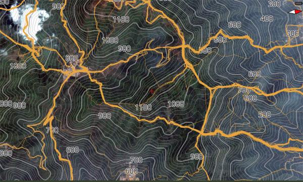 等高线地图形,户外地图,卫星地图叠加等高线地形图,更加真实的卫星地图